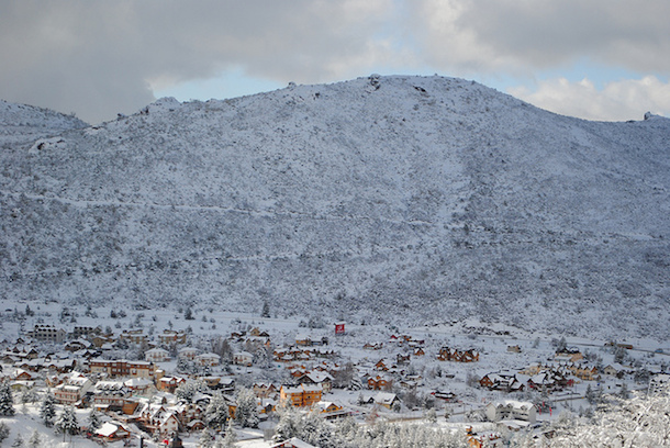The snow-covered town at the base of Cerro Catedral's ski slopes