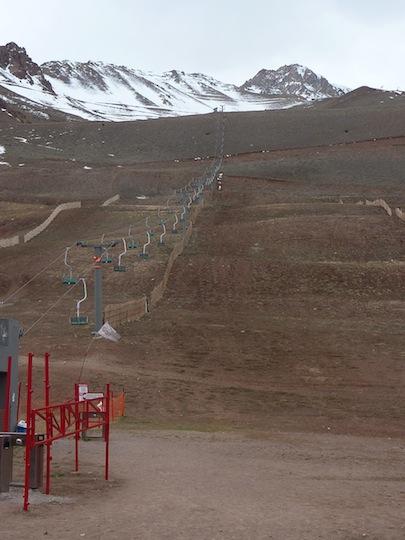 Ski slope high mountain tour