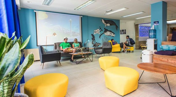 Students chilling out in the lounge of Expanish
