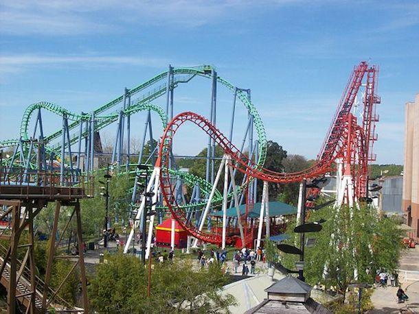 Rollercoasters in Parque de la Costa in Tigre