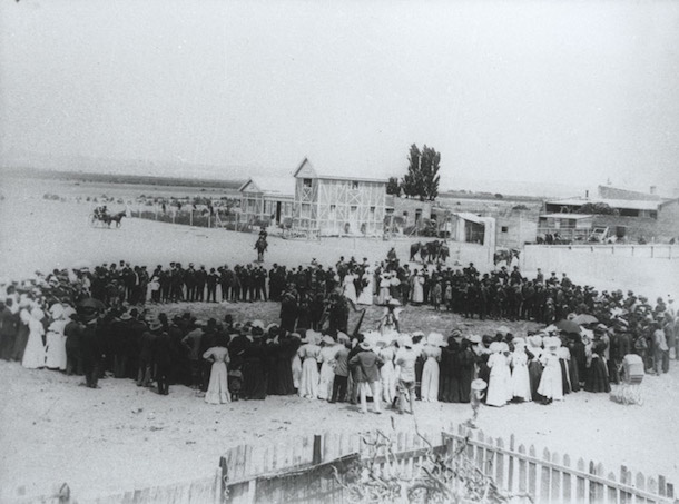 An old picture of people gathered for the Eisteddfod